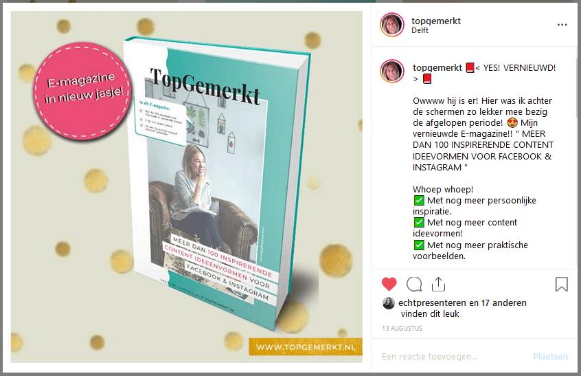 Content Ideeën om nooit meer inspiratieloos te zijn - E-magazine post voorbeeld - TopGemerkt