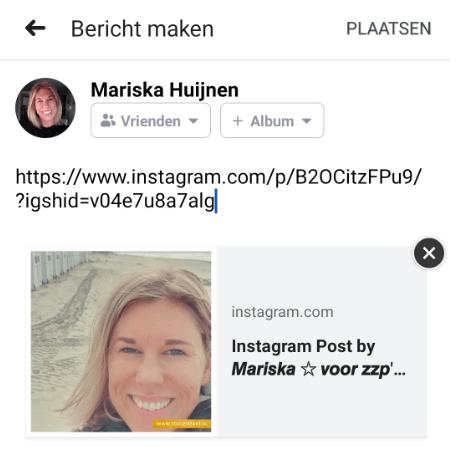 Hoe reposten op Instagram - Link gekopieerd in Facebook bericht - TopGemerkt