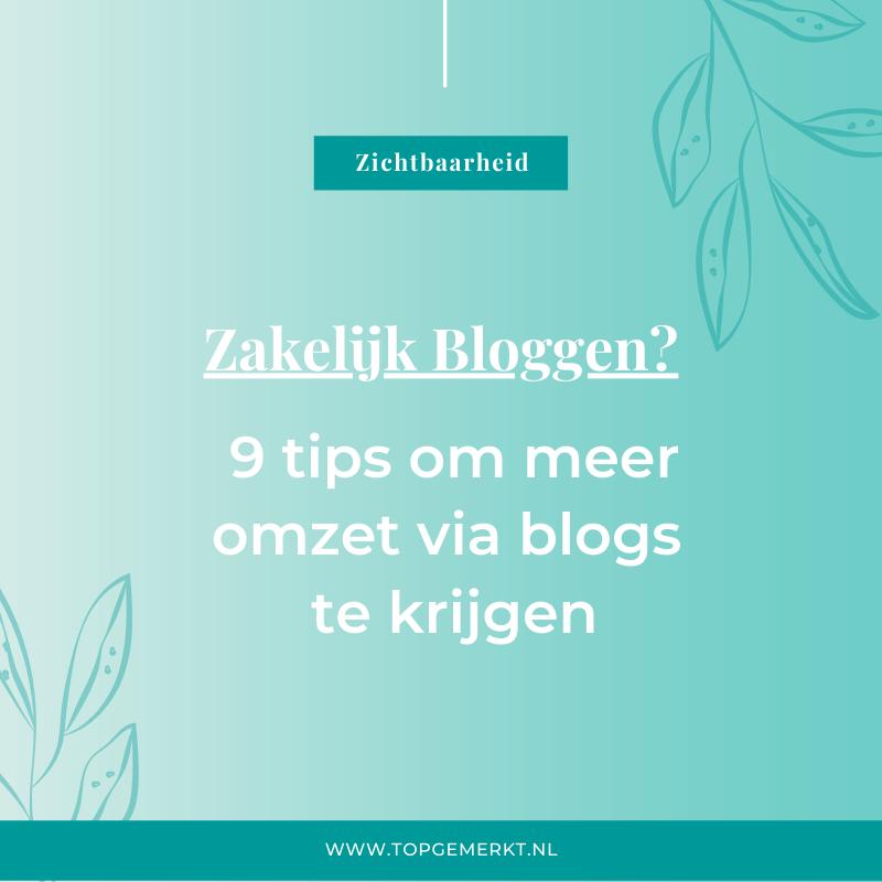 Zakelijk Bloggen - 9 tips voor meer omzet met bloggen - omslag - TopGemerkt